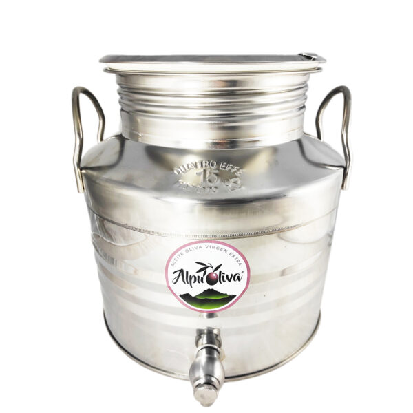 Aceite de oliva virgen extra 15 litros depósito acero inoxidable Alpuoliva
